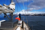Arriving at Jan Mayen in good weather.